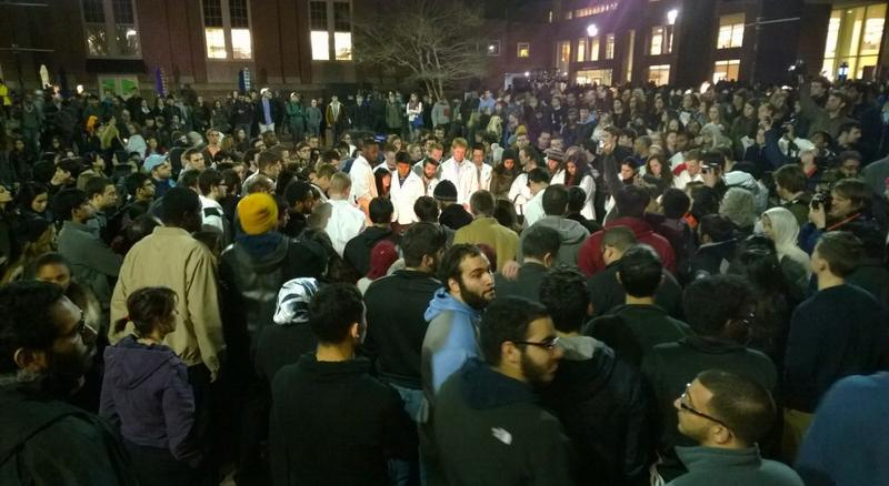 The UNC Chapel Hill vigil for three slain students. UNC Dental School students are in the center of the image. 2/11/15