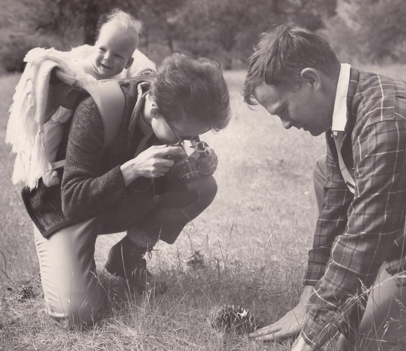 Mary-Dell Chilton, her son Andrew Chilton, and her late husband Scott Chilton photographing wildflowers.