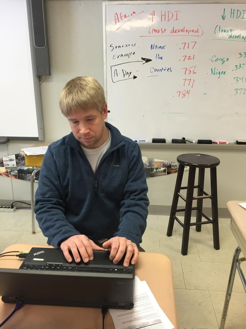 Millbrook High School A. P. Human Geography teacher Mark Grow at work