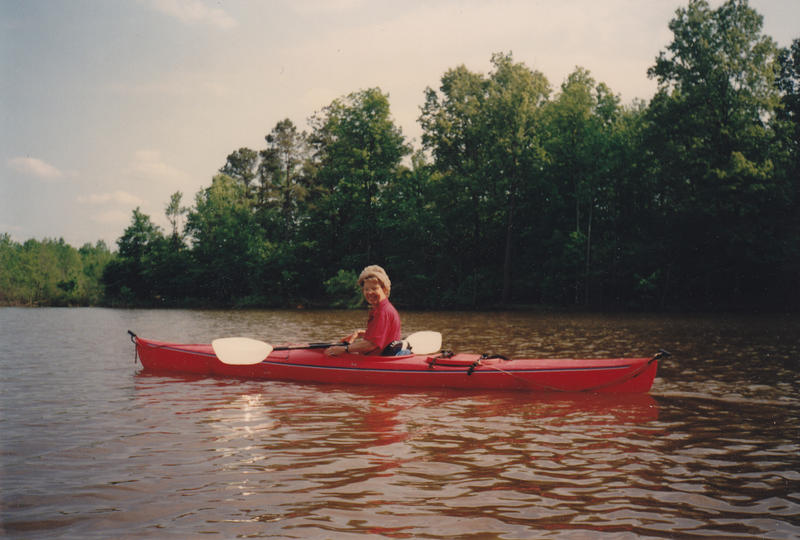 Mary-Dell kayaking on Falls Lake. She and her family love spending time outdoors.