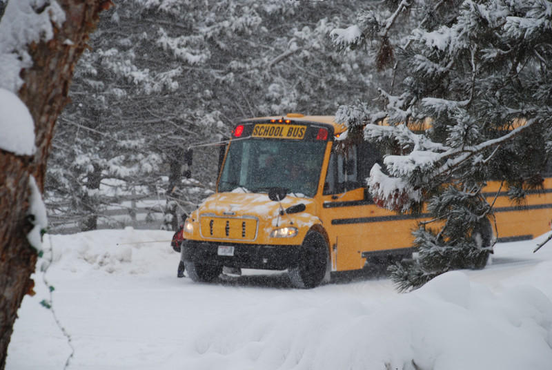 A picture of a school bus in the snow.