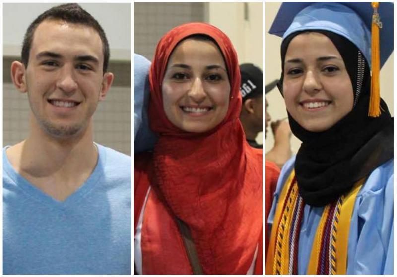 Photo: Deah Barakat, Yusor Abu Salha and Razan Abu Salha