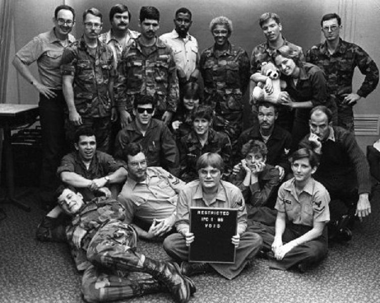 CJ with her fellow photojournalism students in 1984. CJ is kneeling in the second row from the front.