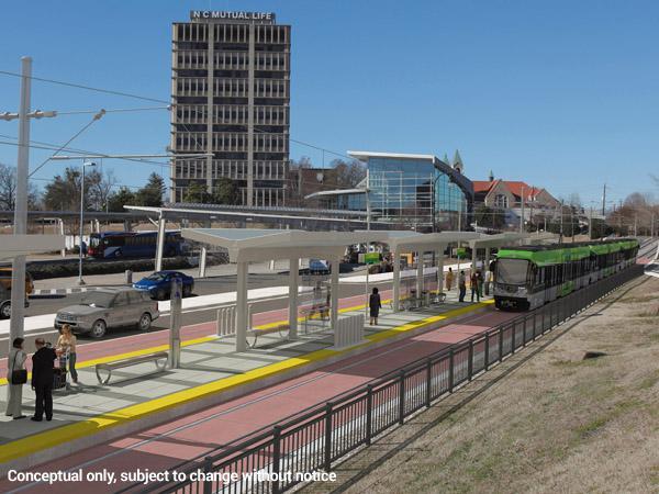 An artist's rendering of a light rail stop.