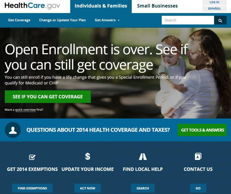 Home page to the Federal health care exchange.