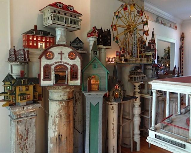 "Some of the more than 1200 American Folk Art Buildings collected by Steven Burke that are featured in the debut performance ""Family Secrets"" at Hill Hall at UNC-Chapel Hill."