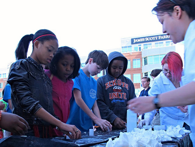 Students participate in the 2014 NC Science Festival.