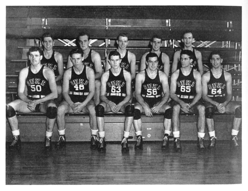Duke Blue Devils, 1942–43. Dave Hubbell is in the back row at the far left.