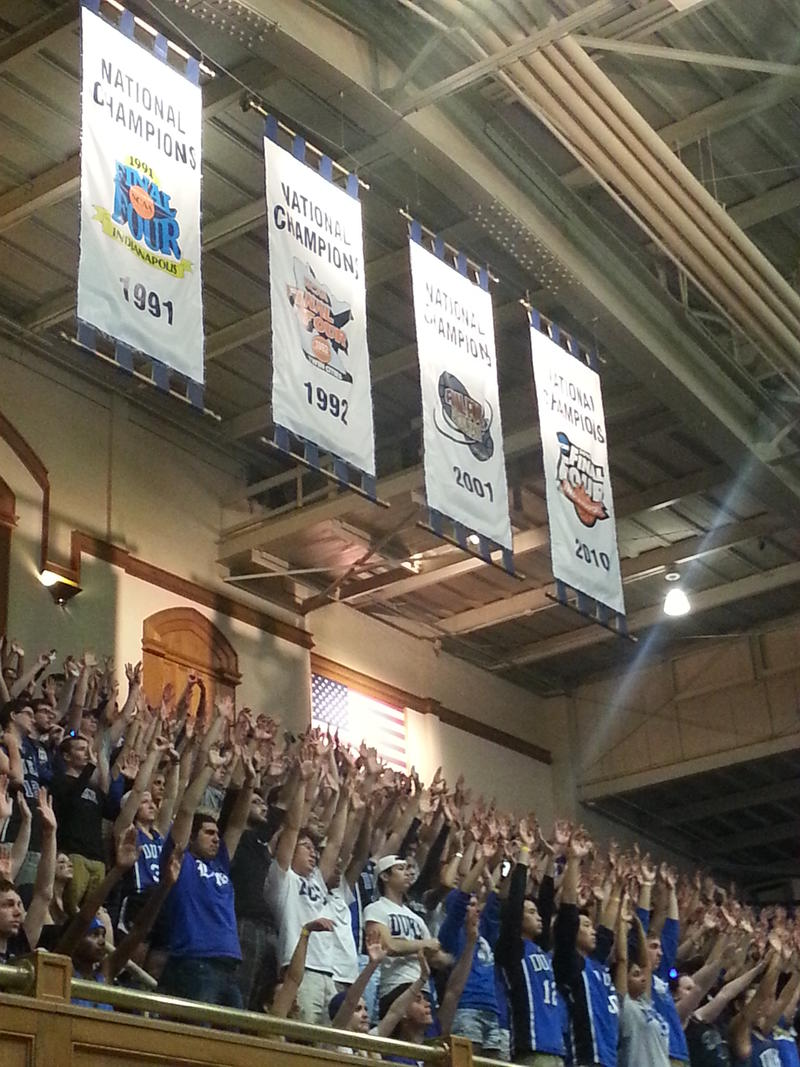 Thousand of Cameron Crazies cheered on Duke Monday, beneath the banners representing the schools previous championships. A fifth title will be honored later this year.