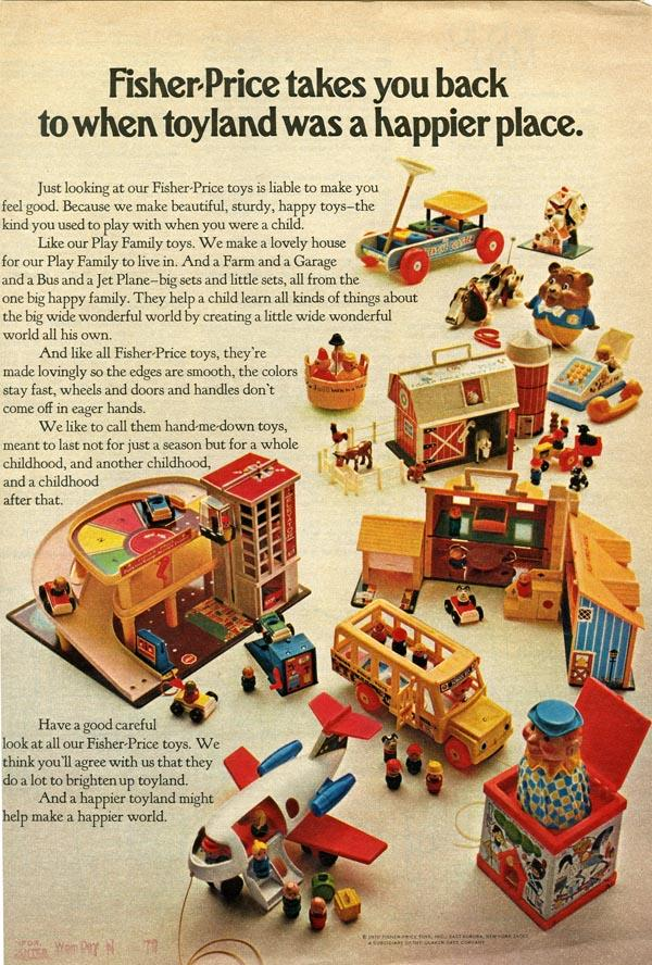 Fisher Price toys advertisment from the 1960s