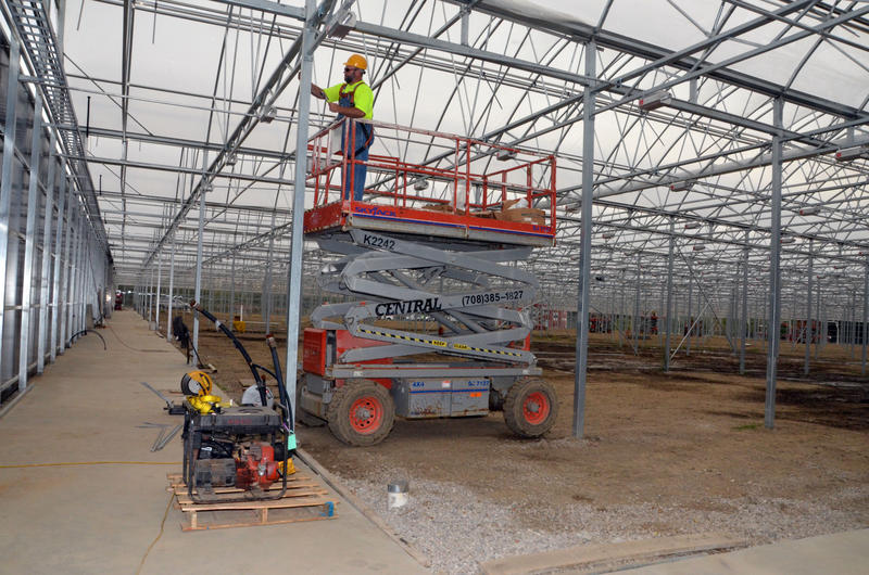 Construction of the greenhouses in Cleveland that are part of the Evergreen Cooperative.