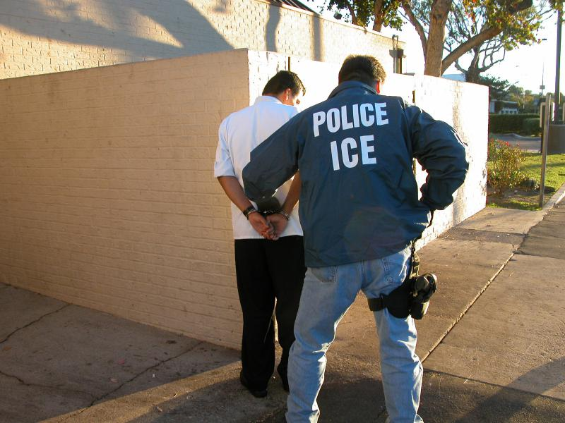 A U.S. Immigration and Customs Enforcement (ICE) arrest.