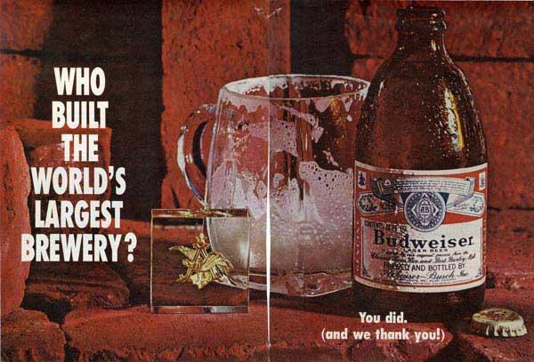 An advertisement for Budweiser
