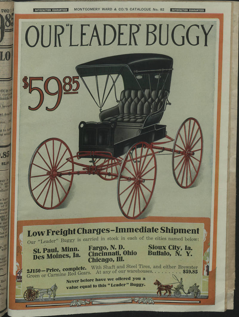 A buggy ad featured in the 1965 Montgomery Ward catalog.