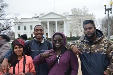 Malabika Brahma, FTR, Toussa Senerap,  and Black Zang in front of the White House.