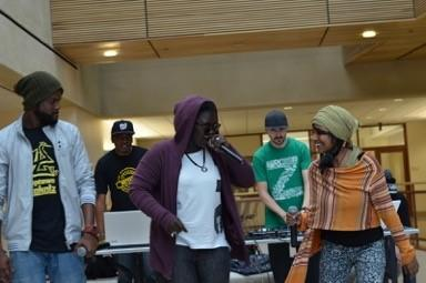 Toussa Senerap and Malabika Brahma performing together at the American University School of International Service concert and discussion on Hip Hop Diplomacy.