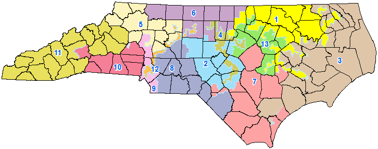 The district plan for North Carolina as set by the 2011 General Assembly.