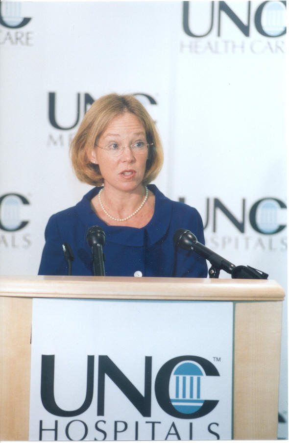 Cynthia Bulik at the opening of the UNC Center of Excellence for Eating Disorders in 2003 where she holds the first endowed professorship in eating disorders in the country.