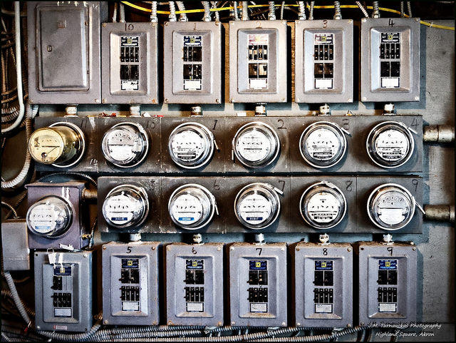 A picture of electricity meters.