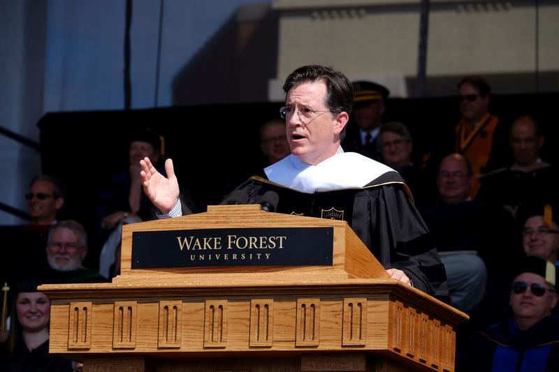 Stephen Colbert speaks to hundreds of Wake Forest University graduates Monday