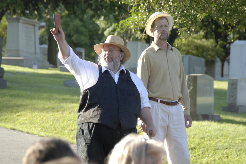 Image of actors George Jack and Greg Paul performing in a production of Oakwood Lives!