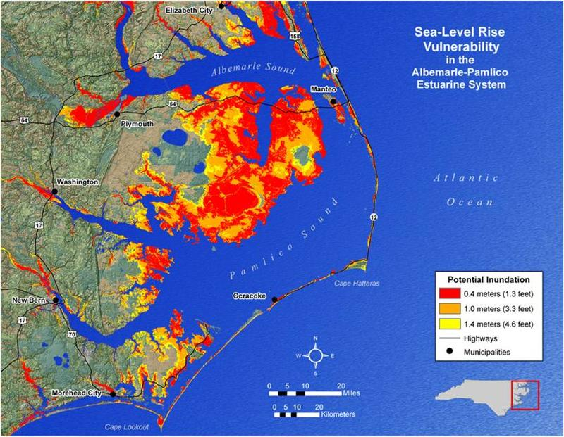 Image of geovisualization of potential inundation due to sea level rise in the Albemarle- Pamlico Estuarine System.