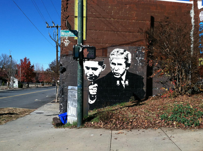 Photo: A graffiti painting at an intersection in Asheville