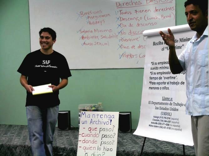 Image of Ramon, who helps out with a Know Your Rights training session.
