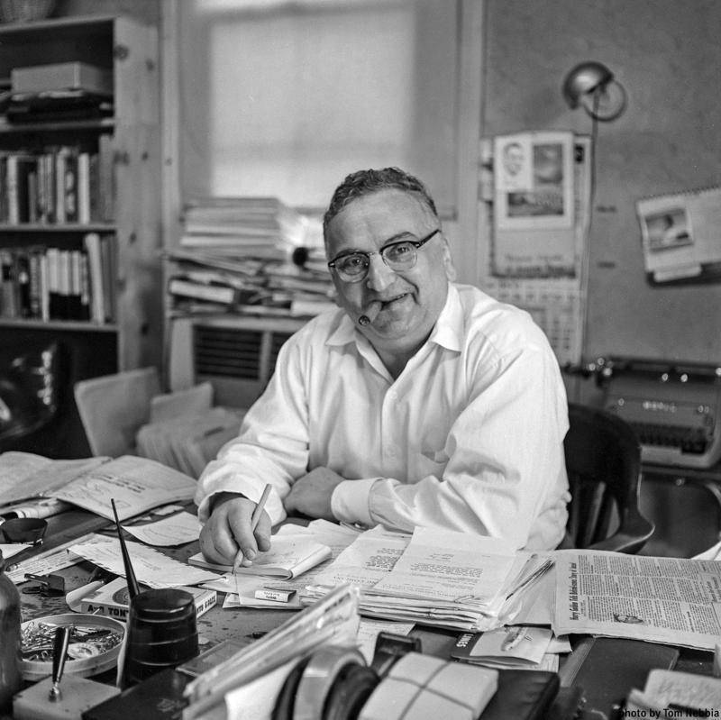 Image of Harry Golden at his desk in December 1957.