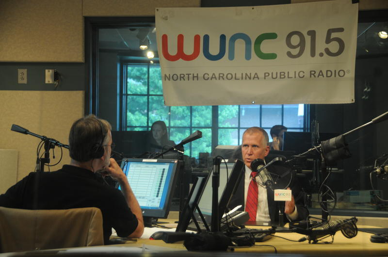 Sen. Thom Tillis (R-NC) talks with WUNC's Frank Stasio