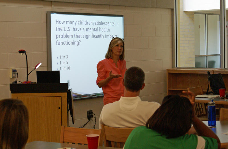 Image of Mimi Chapman working with teachers in Chatham County.