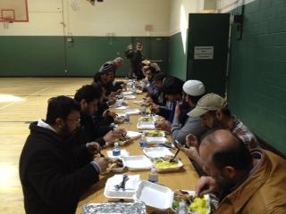 An image of Muslims feasting during Ramadan