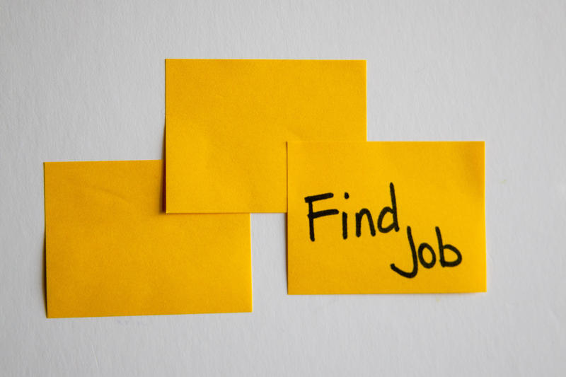 Image of sticky notes with one titled find job