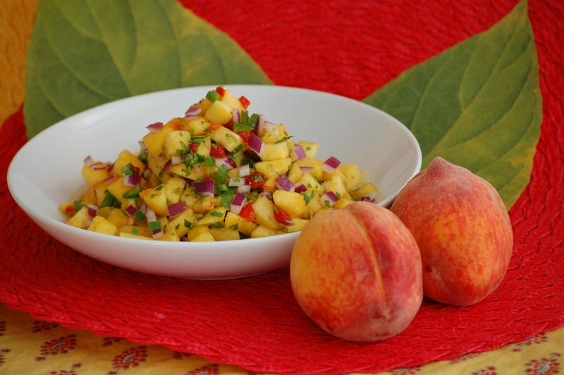 Image of Peach Pico de Gallo from Sandra Gutierrez's book 'The New Southern-Latino Table'