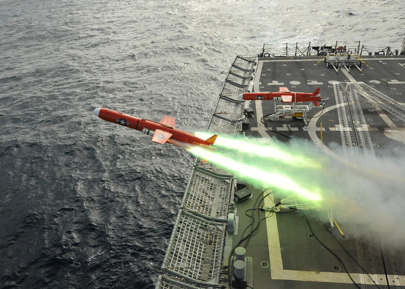 Image of a drone being launched. The U.S. Navy launches an aeriel drone during a weapons firing exercise off the coast of Brazil in 2011.