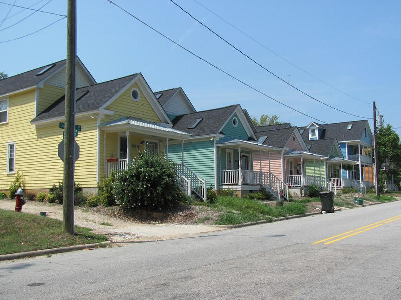 Shotgun houses in Raleigh's historic Oakwood neighborhood.