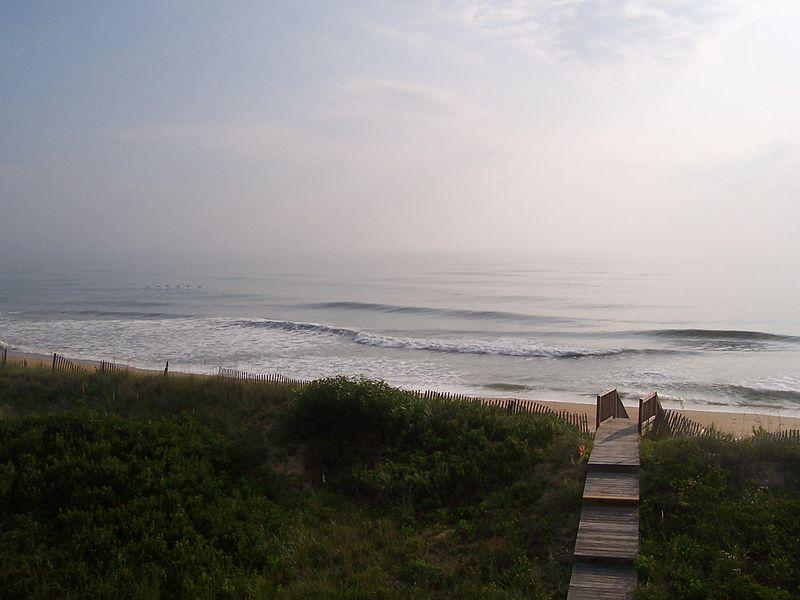View of Atlantic Ocean in early morning in summer, Outer Banks, NC