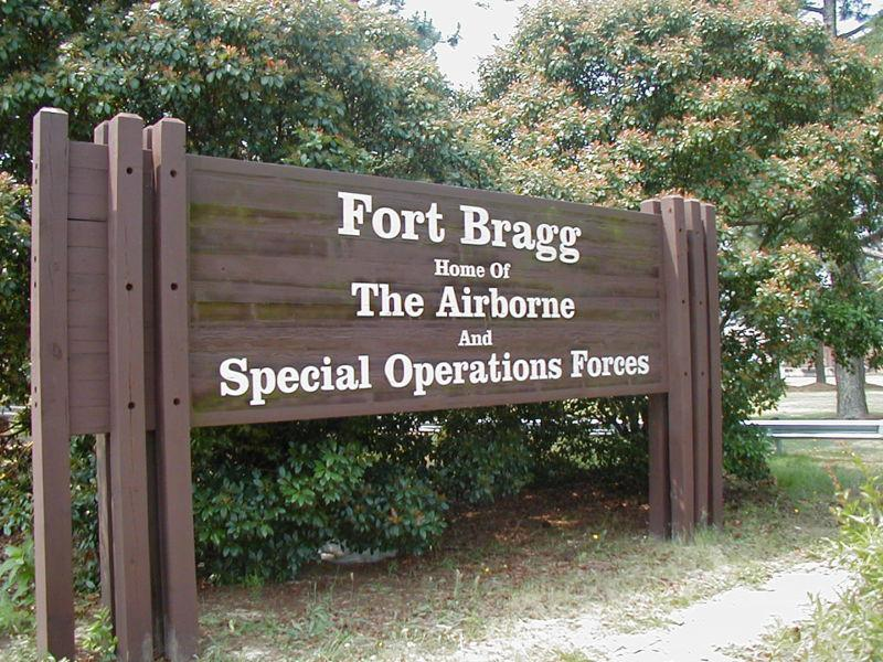 An image of a sign for Fort Bragg