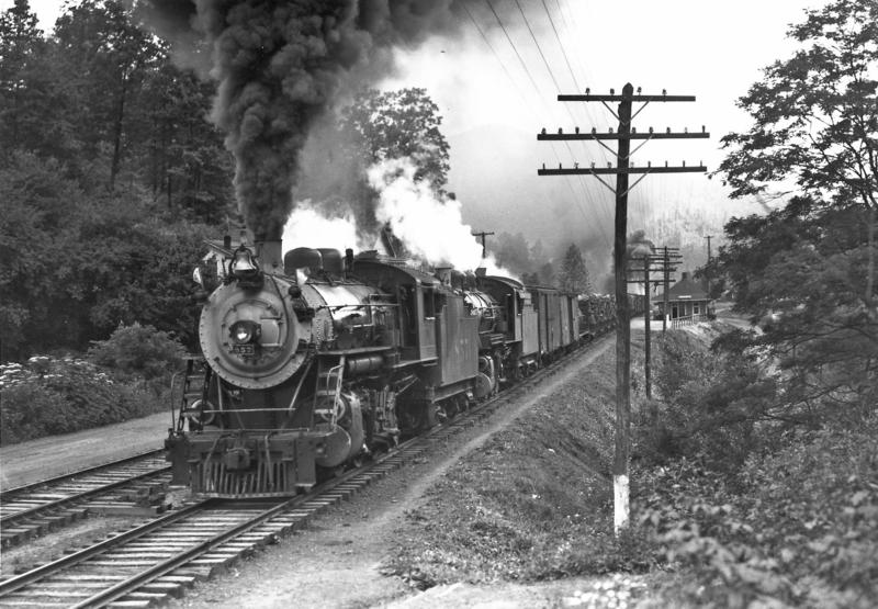 Image of train running in western North Carolina. When the Western North Carolina Railroad Company expanded railroad access to western North Carolina, it allowed several industries to boom.