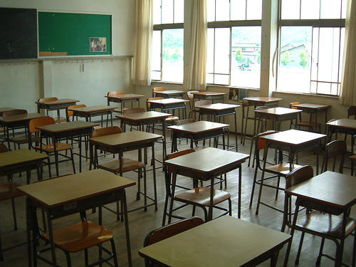 A picture of an empty classroom.