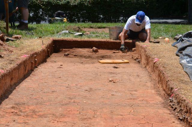 An image of the Builder's House excavation site in Old Salem