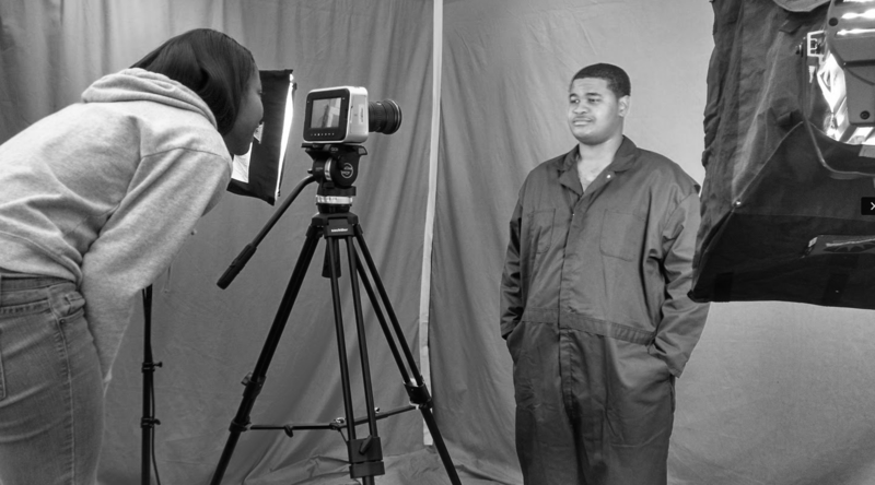 Image of video being shot for the documentary - I, Destini. Nicholas Pilarski and Destini Riley (left) are working on a documentary to show what it's like having a family member in prison.