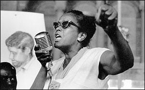 An image of Ella Baker speaking