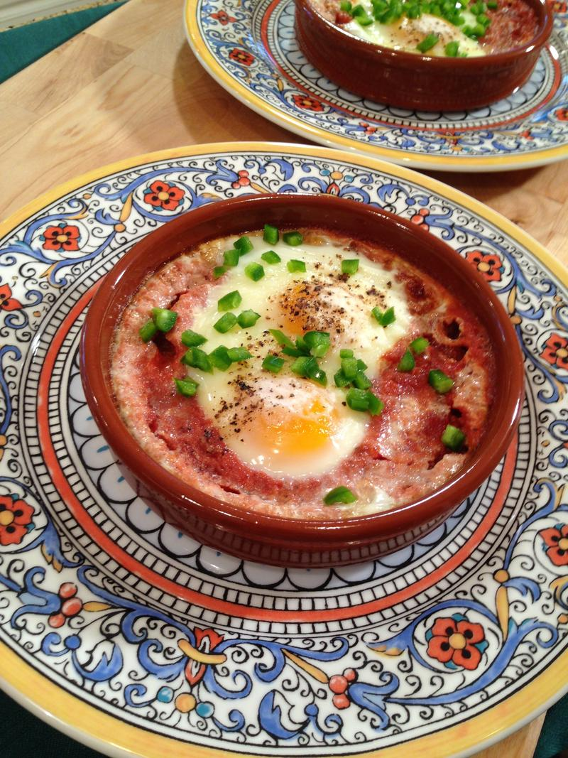 Image of 'Eggs in Purgatory' from one of Gutierrez's television appearances on UNIVISION