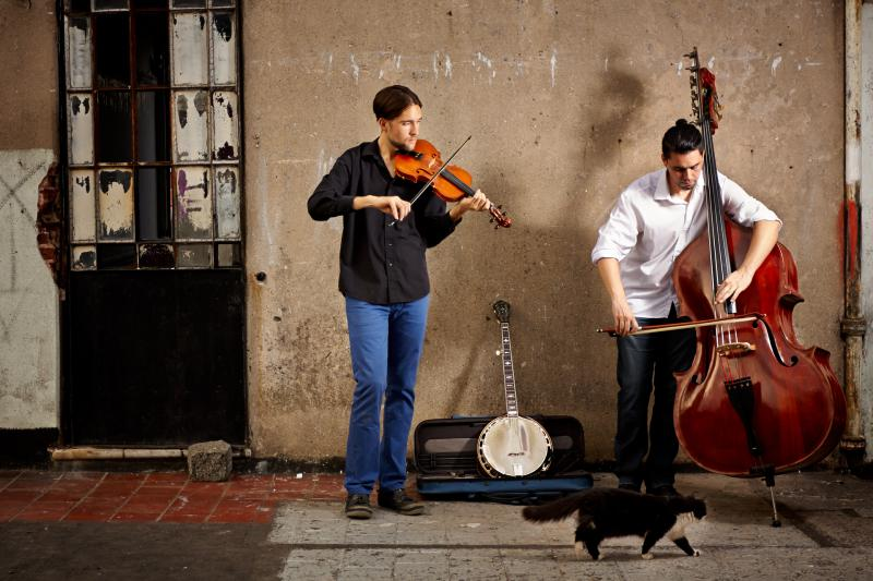 Image of Joe Troop on the left and Diego Sanchez on the right, who play together to form an acoustic world music sound.