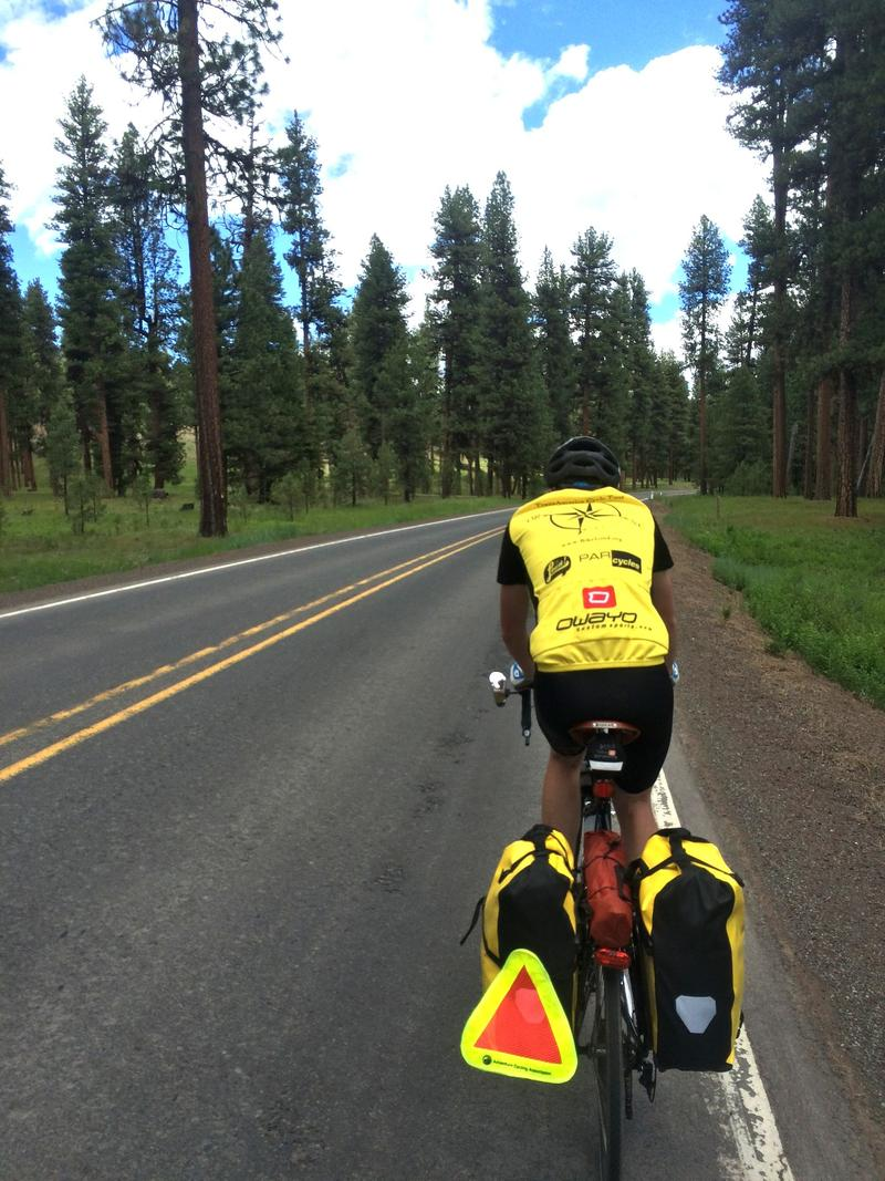 An image of biking through the moutains