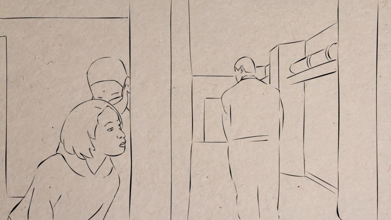 Image of animated sketch from I, Destini. As this documentary is told from Destini's perspective, it's also animated to take advantage of her artistic skills.