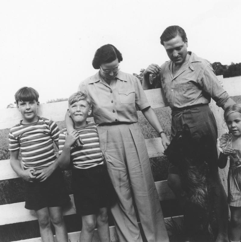 Image of Henrietta Bingham (middle) with her brother, nephews and nieces in 1942.