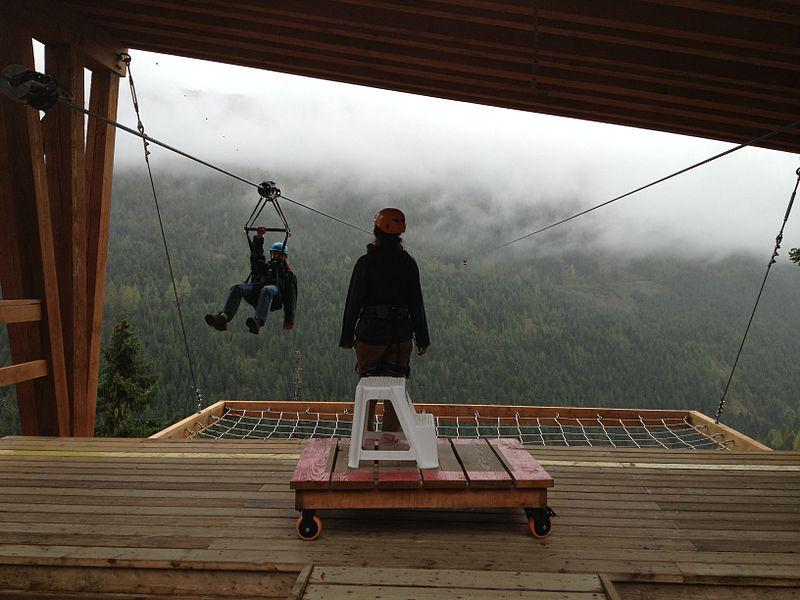 An image of people zip lining