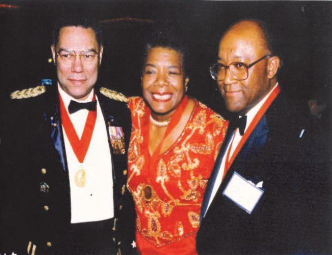 Image of Brown with Colin Powell and Maya Angelou at Horatio Alger Affair.